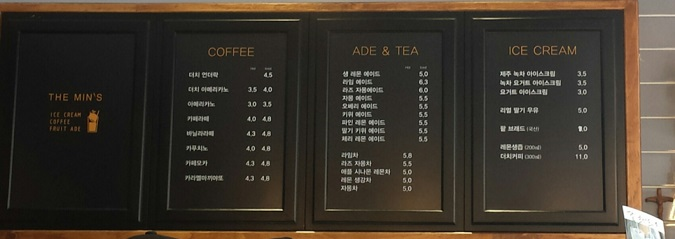 menu min cafe